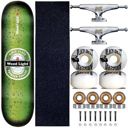 Skate Profissional Completo Shape Wood Light 8.0 Premium Truck Stick Skate Prata