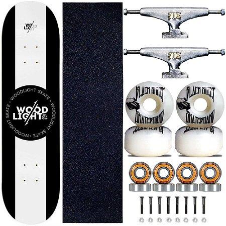 Skate Profissional Completo Shape Wood Light 8.0 Blackcenter Truck Stick Skate Prata