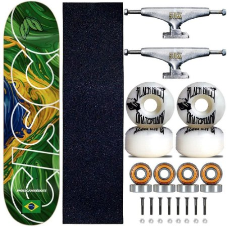 Skate Profissional Completo Shape 8.0 Cisco Brasil Truck Stick Skate Prata