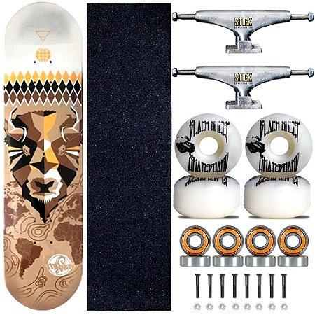 Skate Profissional Completo Shape 8.0 This Way Bulls Truck Stick Skate Prata