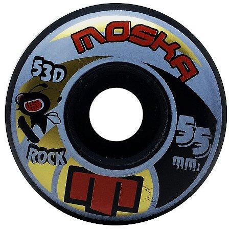 Roda Moska Rock 55mm 53D. Preta ( jogo 4 rodas )