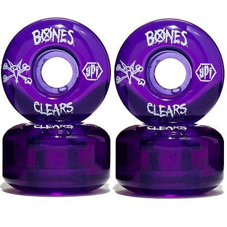 Roda Bones Original SPF Clears Purple 60mm (com 4 rodas)