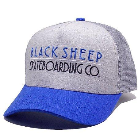 Boné Black Sheep Trucker Aba Curva Escrito Azul