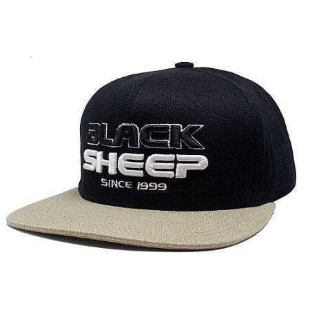 Boné Black Sheep Aba Reta Preto e Bege
