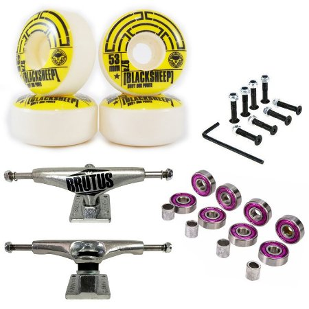 Truck Brutus 139mm + Roda 53mm Black Sheep + Abec 7 + Parafusos