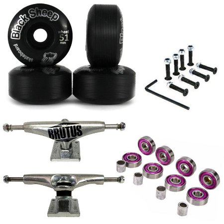 Truck Brutus 139mm + Roda 51mm Black Sheep + Abec 7 + Parafusos