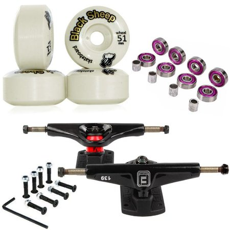 Truck Fun Light 139mm + Roda 51mm Black Sheep + Abec 7 + Parafusos