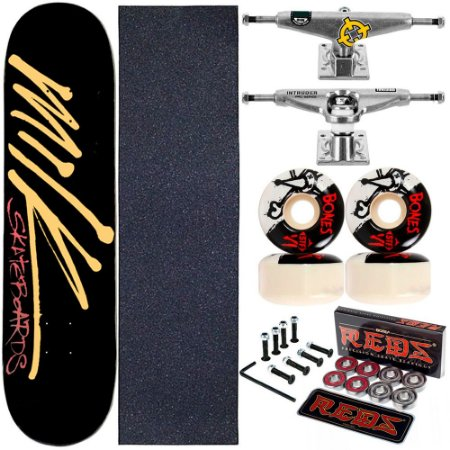 Skate Completo Maple Milk Black 8.0 + Rolamento + Roda Bones + Truck Intruder
