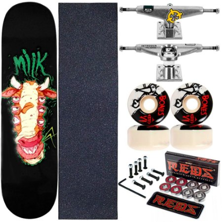 Skate Completo Maple Milk Allien 8.0 + Rolamento + Roda Bones + Truck Intruder