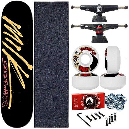 Skate Completo Profissional Shape Maple Milk Black 8.0 + Roda Moska 53mm