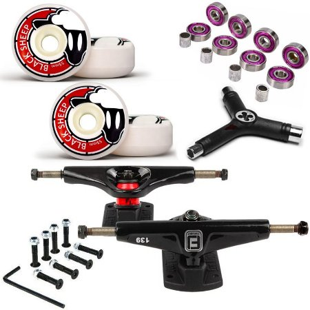 Truck Fun Light 139mm + Roda 55mm Black Sheep + Abec 7 + Parafusos + Chave