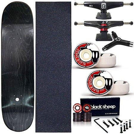 Skate Completo Profissional Maple Liso 8.0 BS Black (shape sem estampa)