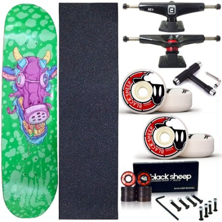 Skate Completo Profissional Shape Maple Milk Toxic 8.0 BS Black + Chave T