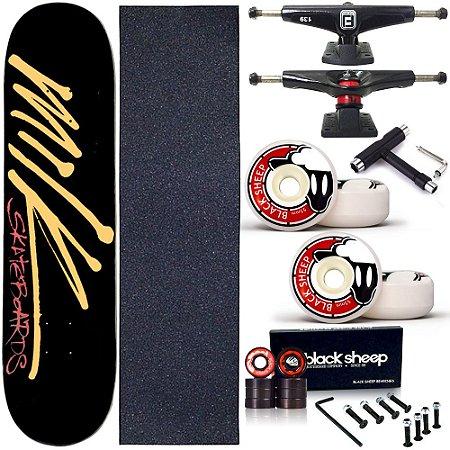 Skate Completo Profissional Shape Maple Milk Preto 8.0 BS Black + Chave T