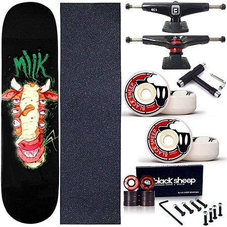 Skate Completo Profissional Shape Maple Milk Alien 8.0 BS Black + Chave T
