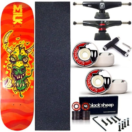 Skate Completo Profissional Shape Maple Milk Crazy 8.0 BS Black + Chave T