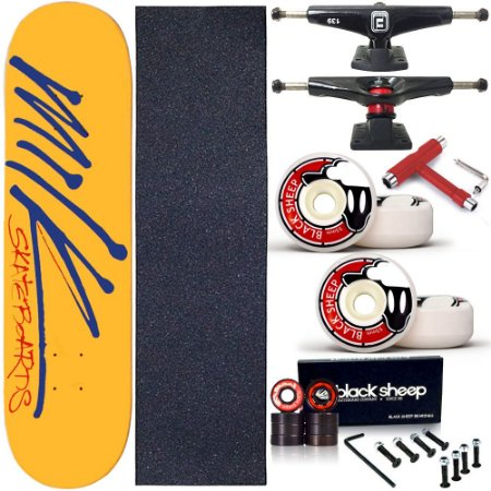 Skate Completo Profissional Shape Maple Milk Yellow 8.0 BS Black + Chave T