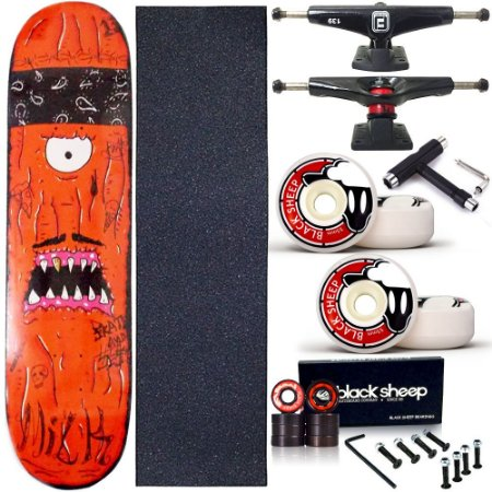 Skate Completo Profissional Shape Maple Milk Monster Red 8.0 BS Black + Chave T