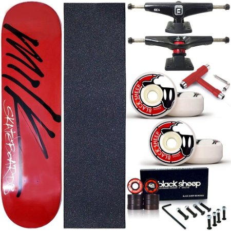 Skate Completo Profissional Shape Maple Milk Red 8.0 BS Black + Chave T