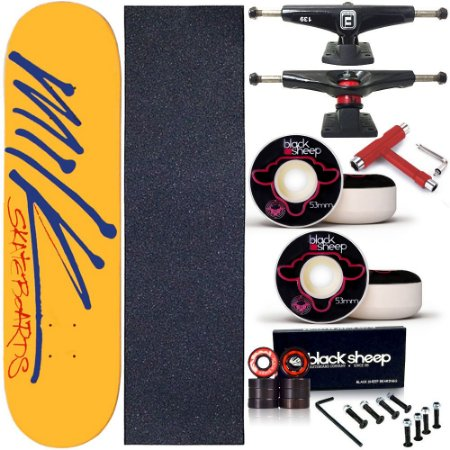 Skate Completo Profissional Shape Maple Milk Yellow Write 8.0 BS Black + Chave T