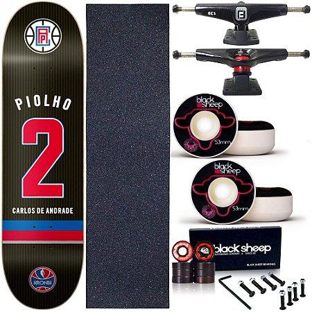 Skate Completo Profissional Shape Maple Kronik 8.0 Piolho BS Black
