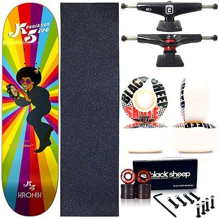 Skate Completo Profissional Shape Maple Kronik 8.0 Retrô BS Black