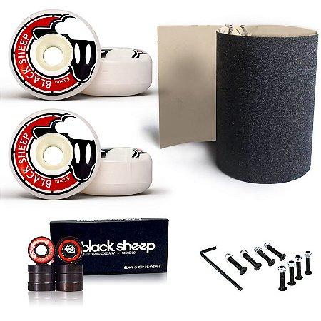 Roda Black Sheep Fundida 55mm + Rolamento Black + Lixa Importada
