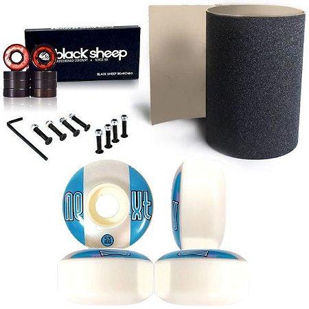 Roda Next 53mm + Rolamento Black + Lixa Importada