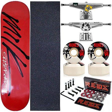 Skate Completo Maple Milk Red 8.0 + Rolamento Bones V4 + Roda Bones + Truck Intruder