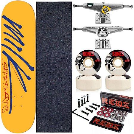Skate Completo Maple Milk Yellow 8.0 + Rolamento Bones + Roda Bones + Truck Intruder