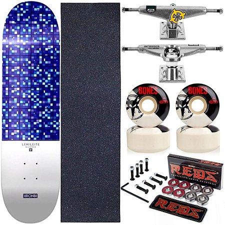 Skate Completo Maple Kronik 8.0 Blessed + Rolamento Bones + Roda Bones + Truck Intruder