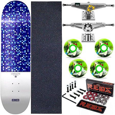 Skate Completo Maple Kronik 8.0 Blessed + Rolamento Bones + Roda Bones Decenzo + Truck Intruder