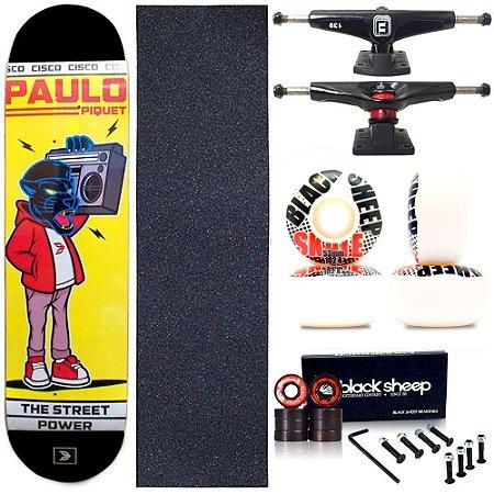 Skate Completo Profissional Maple Cisco Black Panther 8.0 BS Black