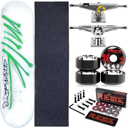 Skate Completo Maple Milk White 8.0 + Rolamento Bones + Roda Bones Black + Truck Intruder