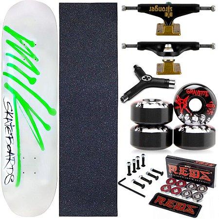 Skate Completo Maple Milk White 8.0 + Rolamento Bones + Roda Bones Black + Truck Stronger + Chave Y