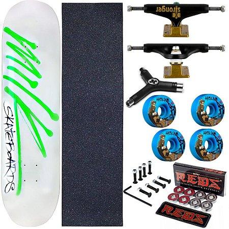 Skate Completo Maple Milk White 8.0 + Rolamento Bones + Roda Bones Azul + Truck Stronger + Chave Y