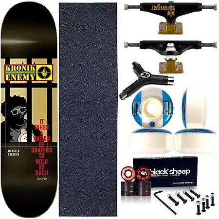 Skate Completo Profissional Shape Maple Kronik Enemy 8.0 BS Black + Chave Y