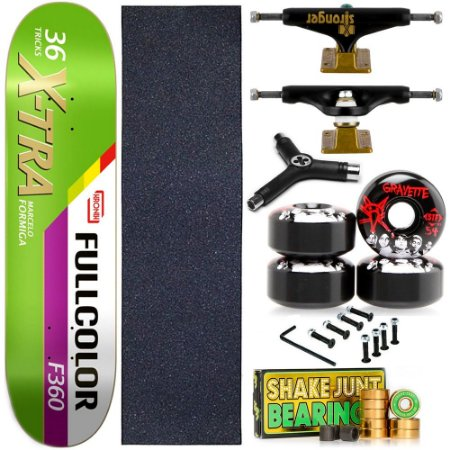 Skate Completo Maple Kronik 8.0 X-Tra + Rolamento Bearing + Roda Bones + Truck Stronger + Chave Y