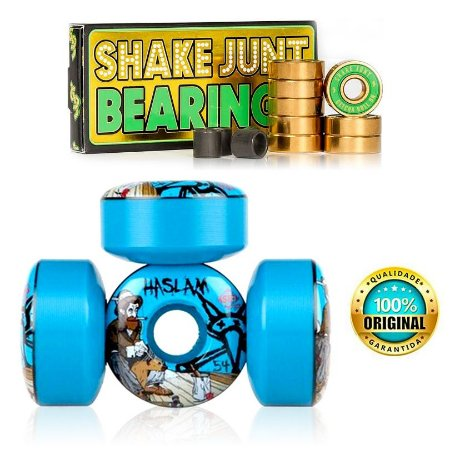 Roda Bones Original STF 54mm Azul Haslam + Rolamentos Shake Junt Triple Og Abec 7 Importado