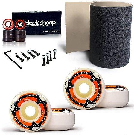 Roda Black Sheep Fundida 51mm + Rolamento Black + Lixa Importada