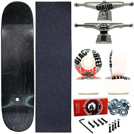 Skate Completo Profissional Maple Liso 8.0 Truck Brutus Roda 53mm (shape sem estampa)