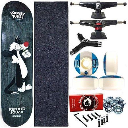 Skate Completo Profissional Shape Maple Kronik 8.0 Black + Chave Y