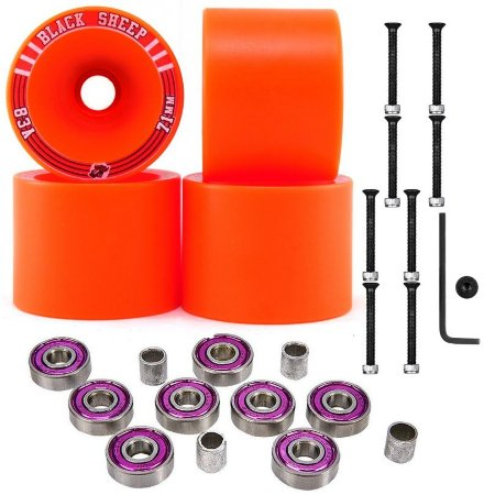 Roda Longboard 71mm 83A Black Sheep Orange + Rolamentos Abec 7 + Parafusos Long