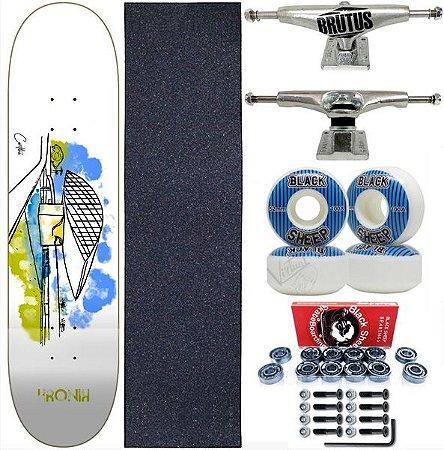 Skate Completo Shape 8.0 Kronik Art Curitiba + Roda Importada 52mm BS Blue