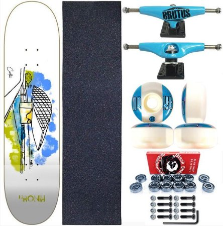 Skate Completo Shape 8.0 Kronik Art Curitiba + Truck BS 139mm Blue