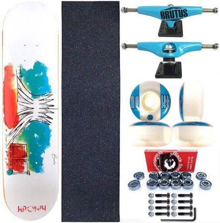Skate Completo Shape 8.0 Kronik Art Aquarela + Truck BS 139mm Blue