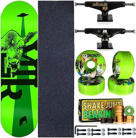 Skate Completo Maple Milk Beto Janz Green 8.0 + Rolamento Junt + Roda Bones + Truck Stronger