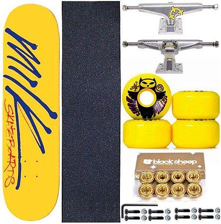 Skate Completo Maple Milk Yellow 8.0 + Rolamento Gold + Roda Bones + Truck Intruder