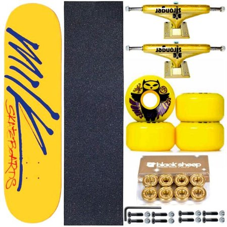 Skate Completo Maple Milk Yellow 8.0 + Rolamento Gold + Roda Bones + Truck Stronger Gold