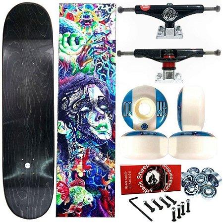 Skate Completo Profissional Universo Maple Liso 8.125 (shape sem estampa) + Truck This Way Balck